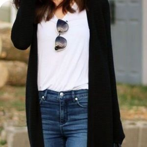 Sheer Black duster cardigan with pockets